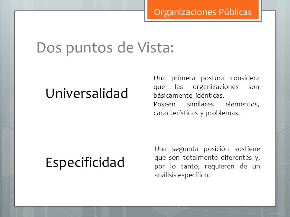 Dos puntos de Vista: Universalidad Especificidad Una primera postura considera que las organizaciones son básicamente idénticas. Poseen similares elem