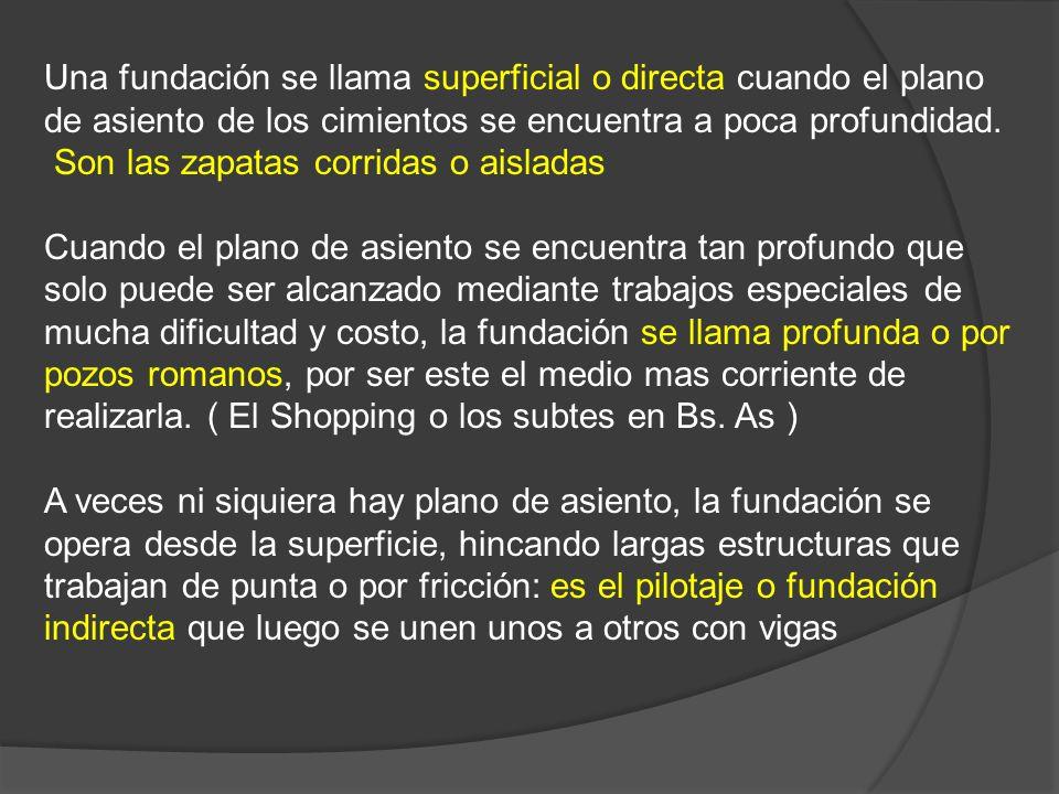 Una fundación se llama superficial o directa cuando el plano de asiento de los cimientos se encuentra a poca profundidad. Son las zapatas corridas o a