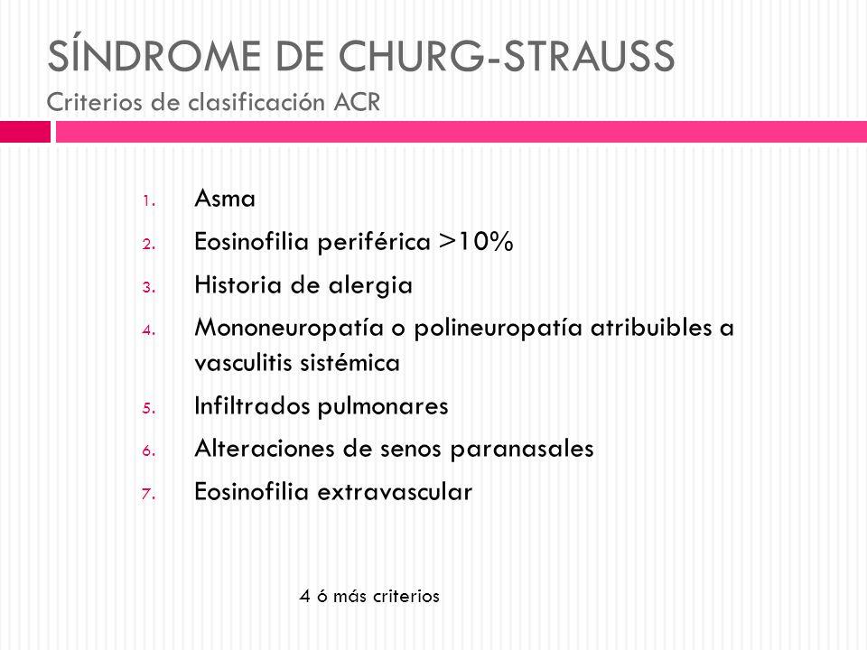 SÍNDROME DE CHURG-STRAUSS Criterios de clasificación ACR 1. Asma 2. Eosinofilia periférica >10% 3. Historia de alergia 4. Mononeuropatía o polineuropa
