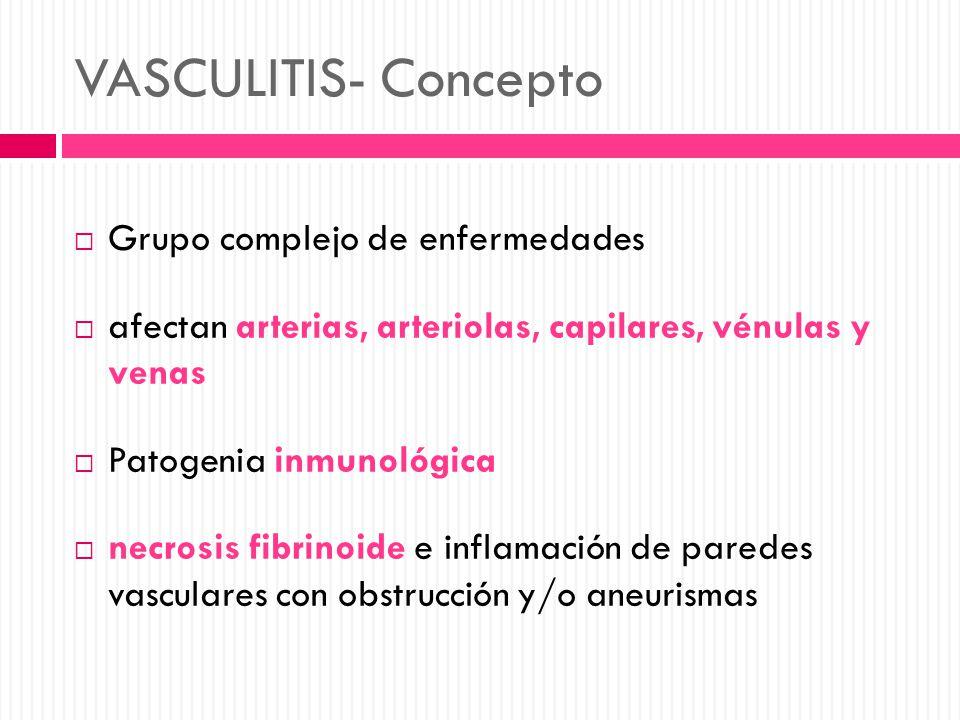 VASCULITIS- Concepto Grupo complejo de enfermedades afectan arterias, arteriolas, capilares, vénulas y venas Patogenia inmunológica necrosis fibrinoid