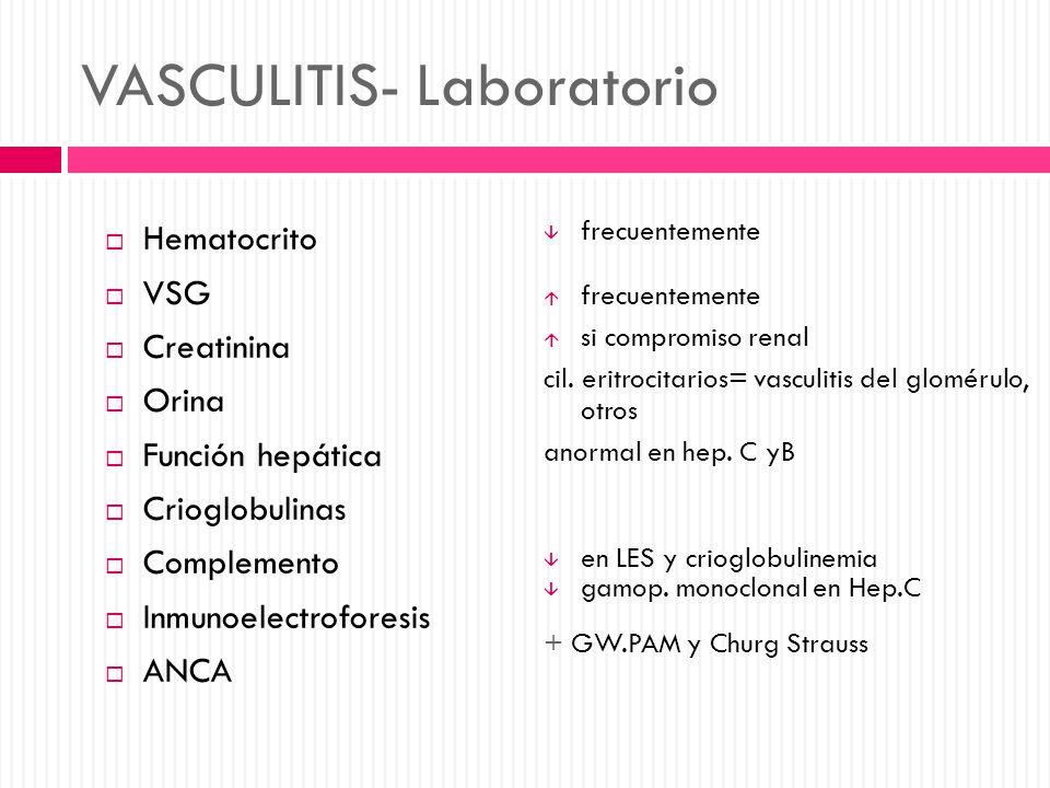 VASCULITIS- Laboratorio Hematocrito VSG Creatinina Orina Función hepática Crioglobulinas Complemento Inmunoelectroforesis ANCA frecuentemente si compr