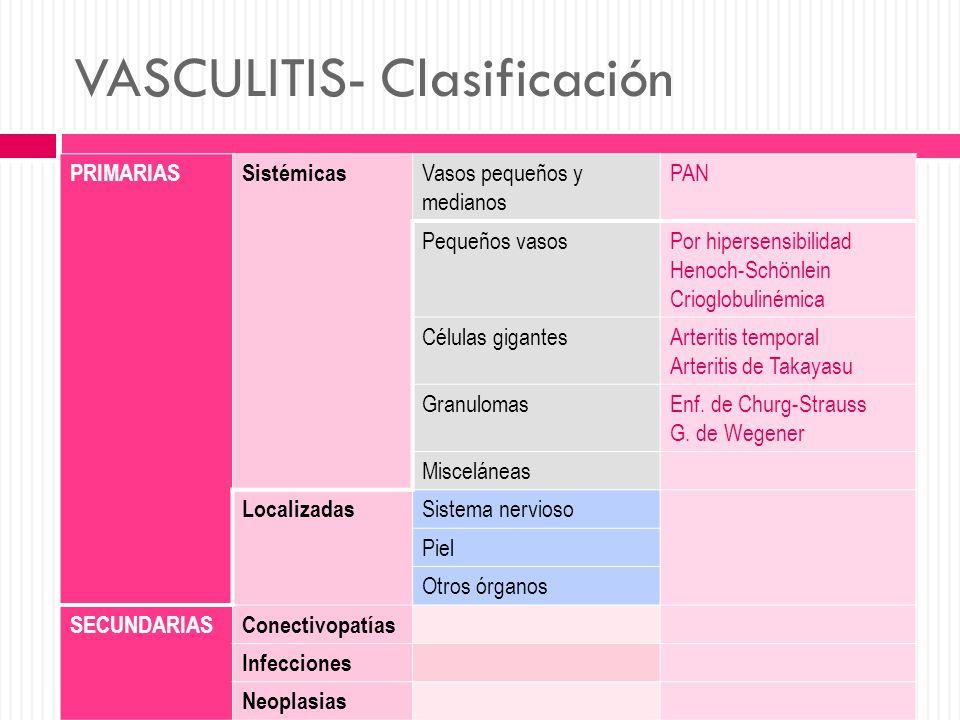 VASCULITIS- Clasificación PRIMARIASSistémicas Vasos pequeños y medianos PAN Pequeños vasosPor hipersensibilidad Henoch-Schönlein Crioglobulinémica Cél