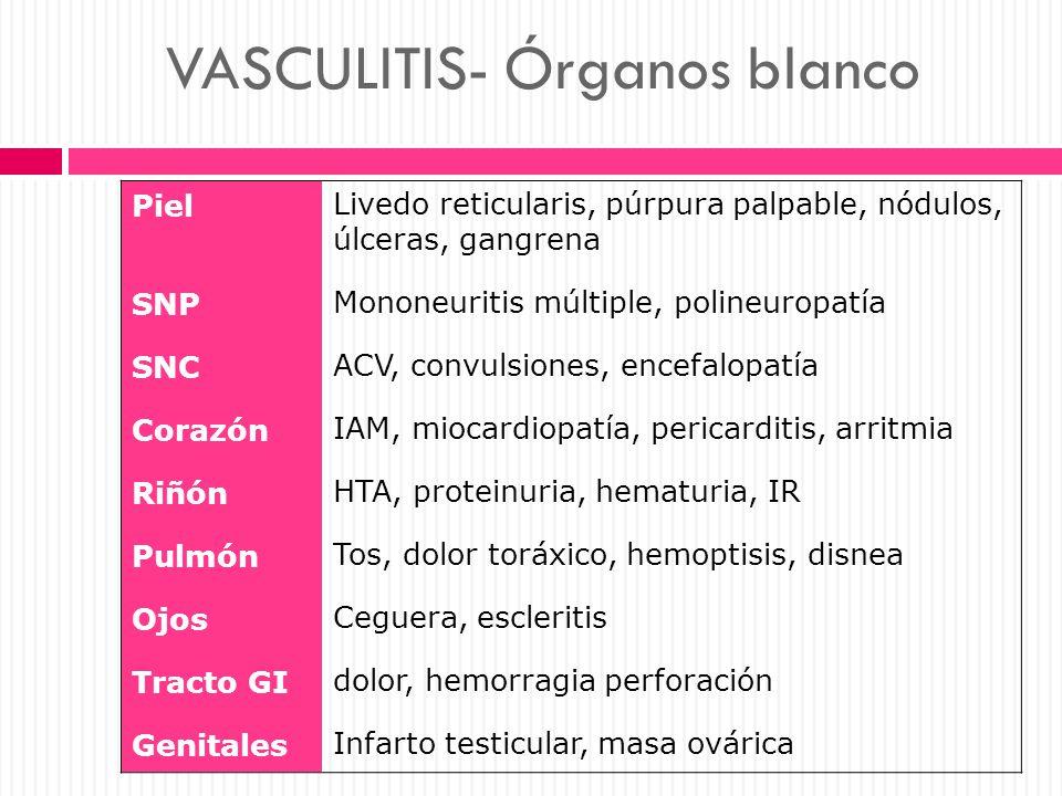 VASCULITIS- Órganos blanco Piel Livedo reticularis, púrpura palpable, nódulos, úlceras, gangrena SNP Mononeuritis múltiple, polineuropatía SNC ACV, co