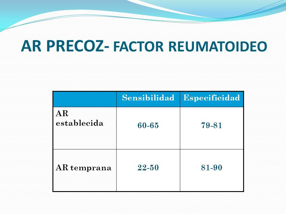 AR PRECOZ- FACTOR REUMATOIDEO SensibilidadEspecificidad AR establecida 60-6579-81 AR temprana22-5081-90