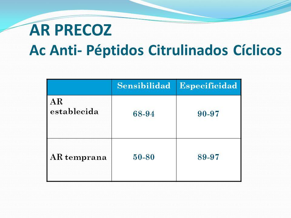 AR PRECOZ Ac Anti- Péptidos Citrulinados Cíclicos SensibilidadEspecificidad AR establecida 68-9490-97 AR temprana50-8089-97