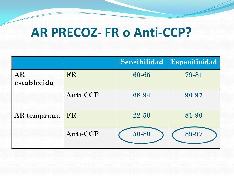 AR PRECOZ- FR o Anti-CCP? SensibilidadEspecificidad AR establecida FR60-6579-81 Anti-CCP68-9490-97 AR tempranaFR22-5081-90 Anti-CCP50-8089-97