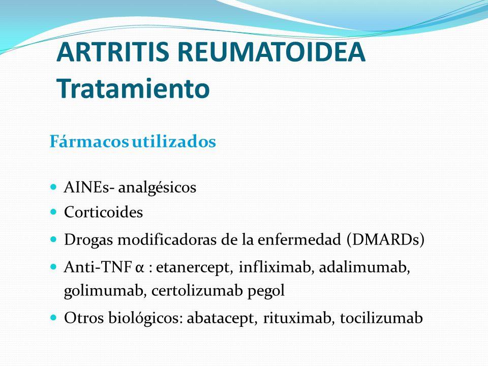 ARTRITIS REUMATOIDEA Tratamiento Fármacos utilizados AINEs- analgésicos Corticoides Drogas modificadoras de la enfermedad (DMARDs) Anti-TNF α : etaner