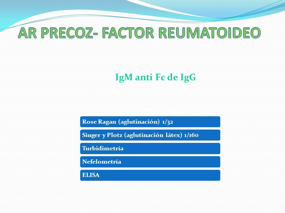 IgM anti Fc de IgG Detección Rose Ragan (aglutinación) 1/32Singer y Plotz (aglutinación látex) 1/160TurbidimetríaNefelometríaELISA