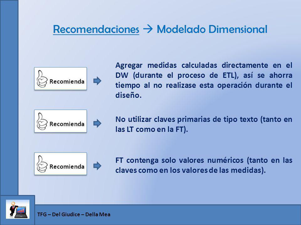 Recomendaciones Modelado Dimensional Agregar medidas calculadas directamente en el DW (durante el proceso de ETL), así se ahorra tiempo al no realizas