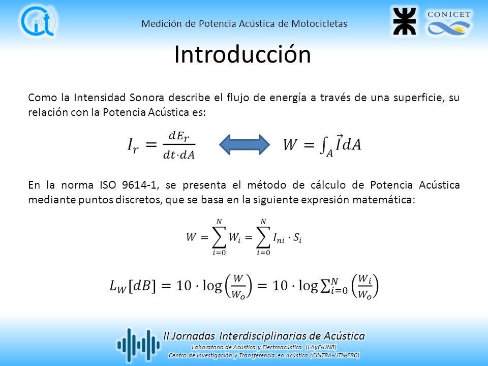 Medición de Potencia Acústica de Motocicletas Como la Intensidad Sonora describe el flujo de energía a través de una superficie, su relación con la Potencia Acústica es: En la norma ISO 9614-1, se presenta el método de cálculo de Potencia Acústica mediante puntos discretos, que se basa en la siguiente expresión matemática: Introducción