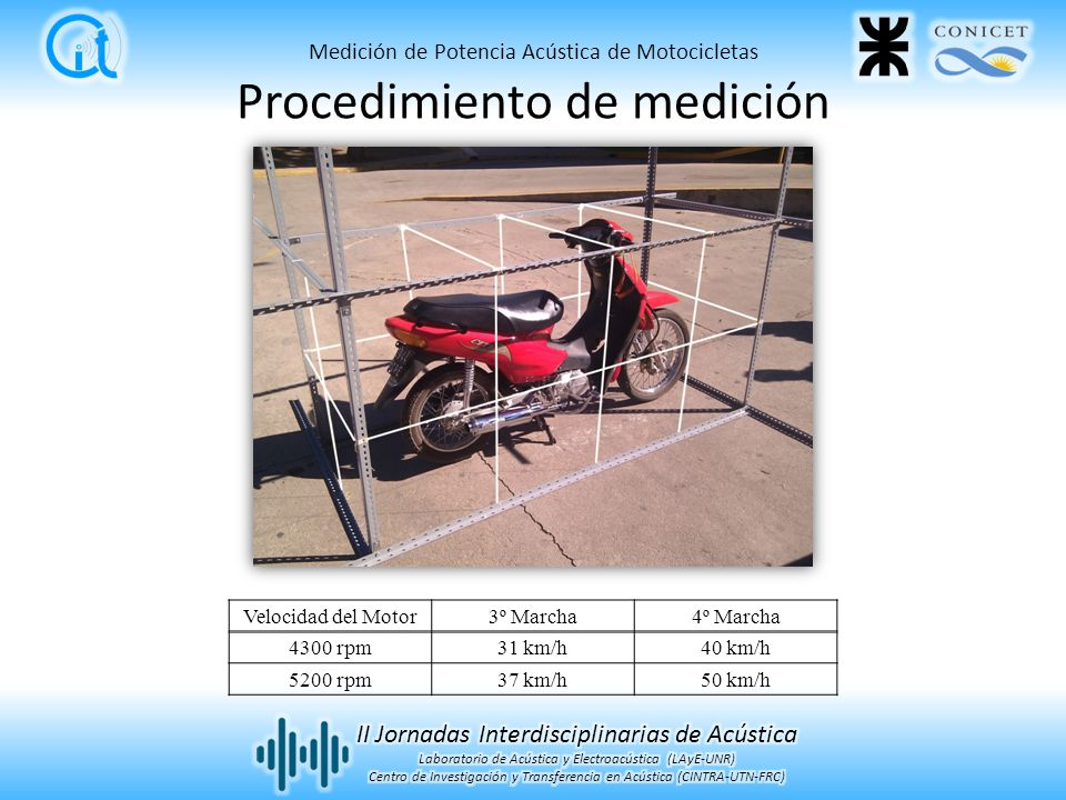 Procedimiento de medición Velocidad del Motor3º Marcha4º Marcha 4300 rpm31 km/h40 km/h 5200 rpm37 km/h50 km/h Medición de Potencia Acústica de Motocic