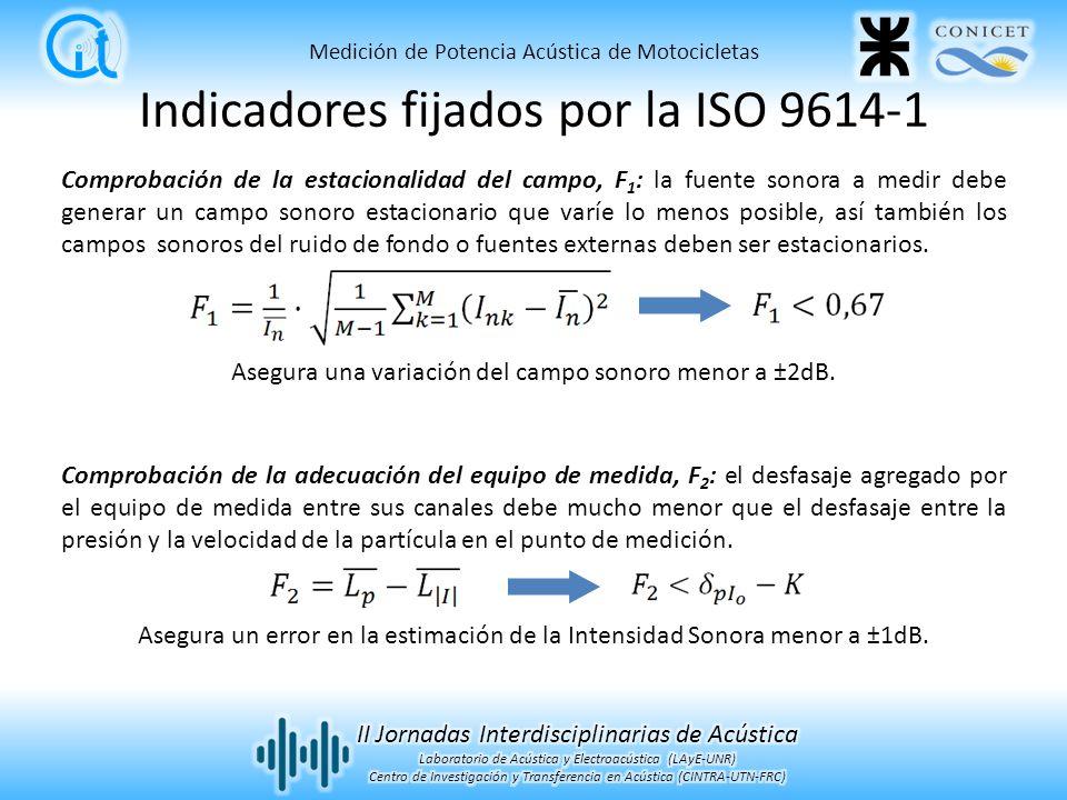 Indicadores fijados por la ISO 9614-1 Comprobación de la estacionalidad del campo, F 1 : la fuente sonora a medir debe generar un campo sonoro estacionario que varíe lo menos posible, así también los campos sonoros del ruido de fondo o fuentes externas deben ser estacionarios.