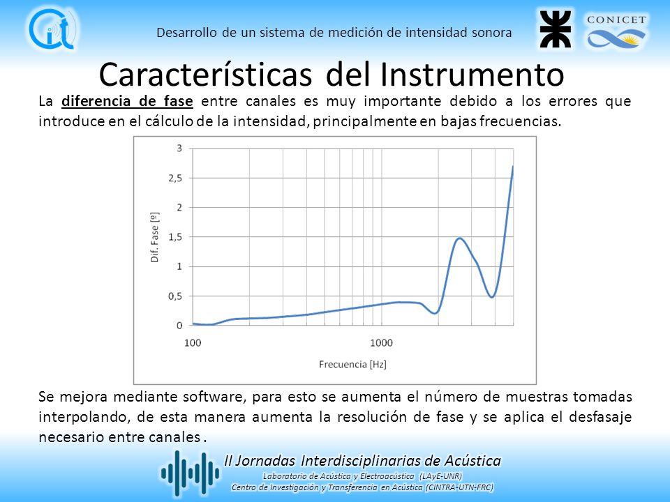 La diferencia de fase entre canales es muy importante debido a los errores que introduce en el cálculo de la intensidad, principalmente en bajas frecuencias.