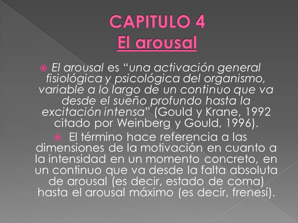 El arousal es una activación general fisiológica y psicológica del organismo, variable a lo largo de un continuo que va desde el sueño profundo hasta