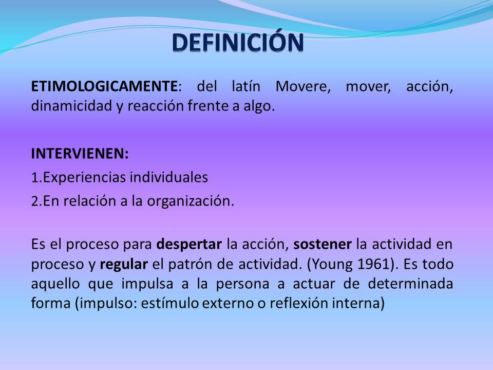 ETIMOLOGICAMENTE: del latín Movere, mover, acción, dinamicidad y reacción frente a algo. INTERVIENEN: 1. Experiencias individuales 2. En relación a la