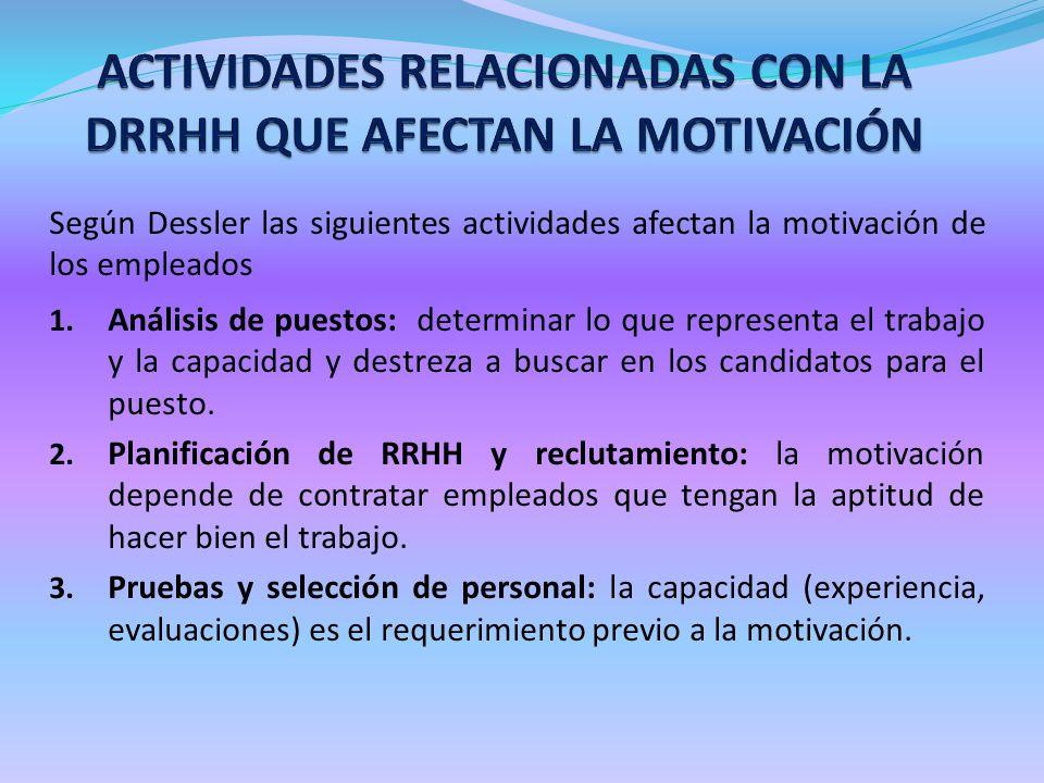 Según Dessler las siguientes actividades afectan la motivación de los empleados 1. Análisis de puestos: determinar lo que representa el trabajo y la c