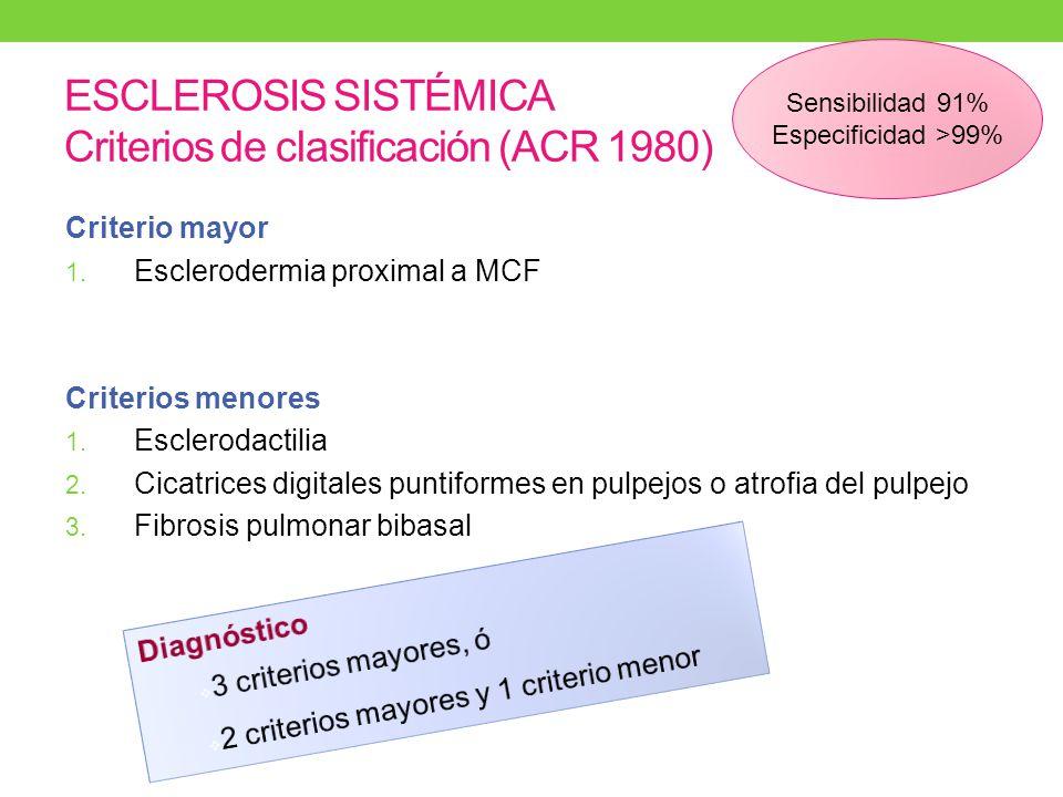 ESCLEROSIS SISTÉMICA Criterios de clasificación (ACR 1980) Criterio mayor 1.