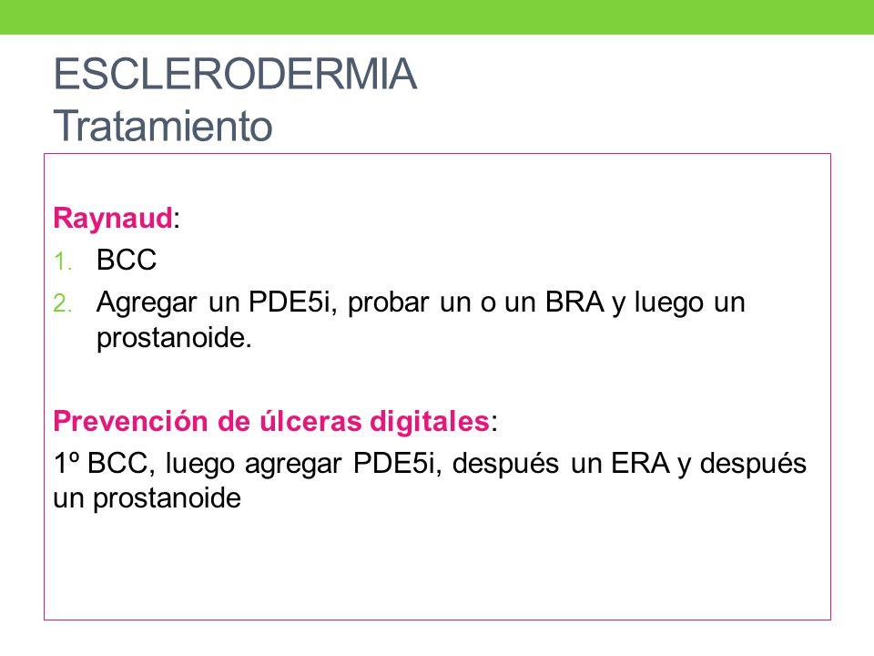 ESCLERODERMIA Tratamiento Raynaud: 1.BCC 2.