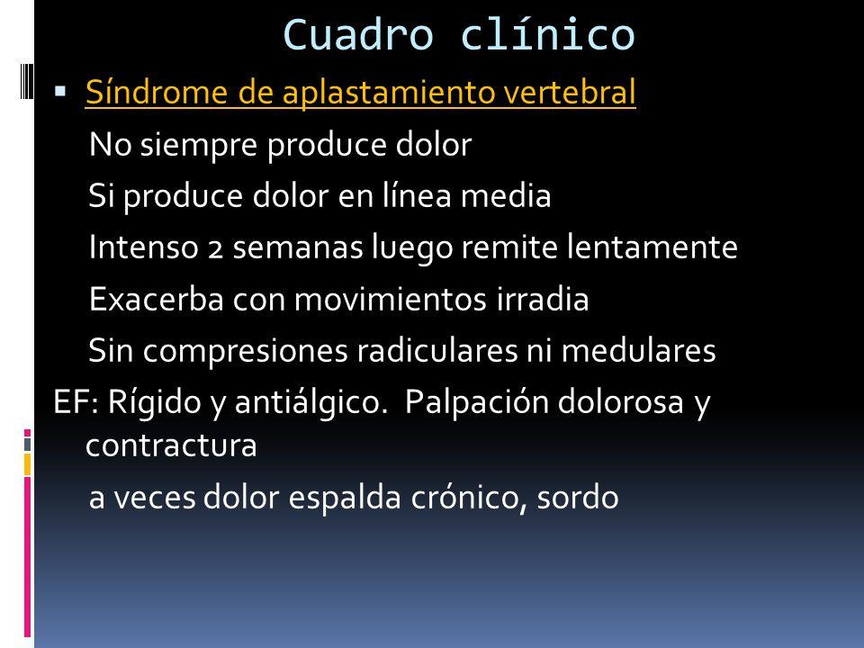 Cuadro clínico Síndrome de aplastamiento vertebral No siempre produce dolor Si produce dolor en línea media Intenso 2 semanas luego remite lentamente Exacerba con movimientos irradia Sin compresiones radiculares ni medulares EF: Rígido y antiálgico.