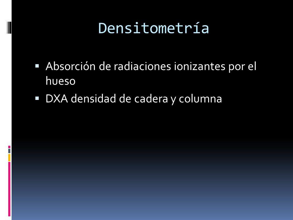 Densitometría Absorción de radiaciones ionizantes por el hueso DXA densidad de cadera y columna