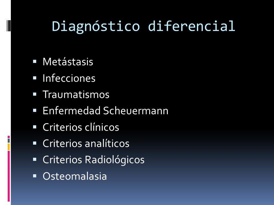 Diagnóstico diferencial Metástasis Infecciones Traumatismos Enfermedad Scheuermann Criterios clínicos Criterios analíticos Criterios Radiológicos Osteomalasia