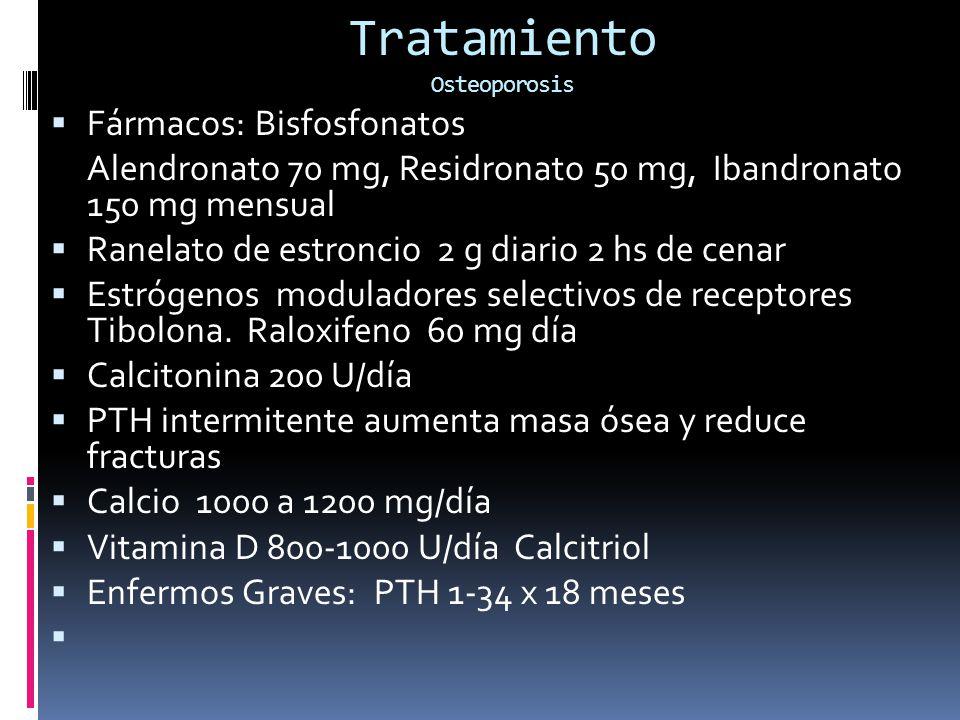 Tratamiento Osteoporosis Fármacos: Bisfosfonatos Alendronato 70 mg, Residronato 50 mg, Ibandronato 150 mg mensual Ranelato de estroncio 2 g diario 2 hs de cenar Estrógenos moduladores selectivos de receptores Tibolona.
