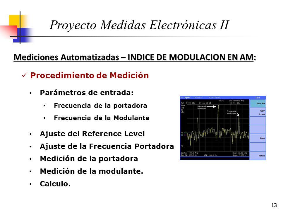 13 Mediciones Automatizadas – INDICE DE MODULACION EN AM: Proyecto Medidas Electrónicas II Procedimiento de Medición Ajuste del Reference Level Ajuste