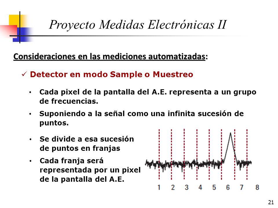 21 Consideraciones en las mediciones automatizadas: Proyecto Medidas Electrónicas II Cada pixel de la pantalla del A.E. representa a un grupo de frecu