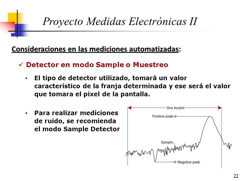22 Consideraciones en las mediciones automatizadas: Proyecto Medidas Electrónicas II El tipo de detector utilizado, tomará un valor característico de