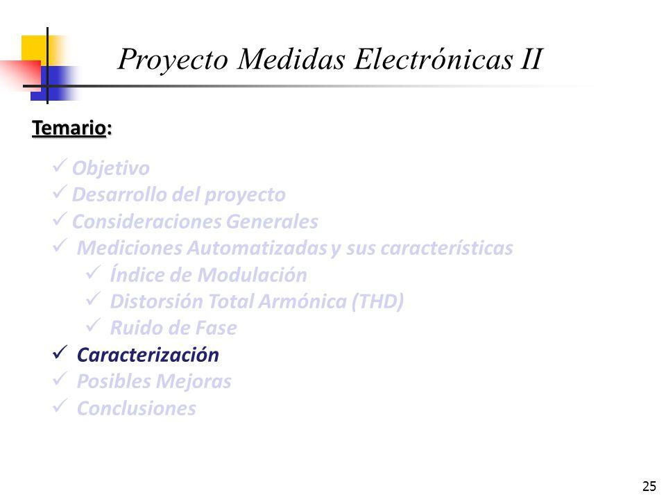25 Temario: Objetivo Desarrollo del proyecto Consideraciones Generales Mediciones Automatizadas y sus características Índice de Modulación Distorsión