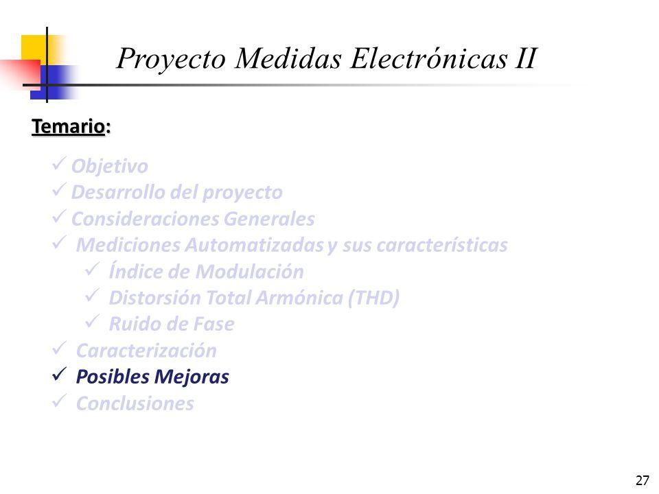27 Temario: Objetivo Desarrollo del proyecto Consideraciones Generales Mediciones Automatizadas y sus características Índice de Modulación Distorsión