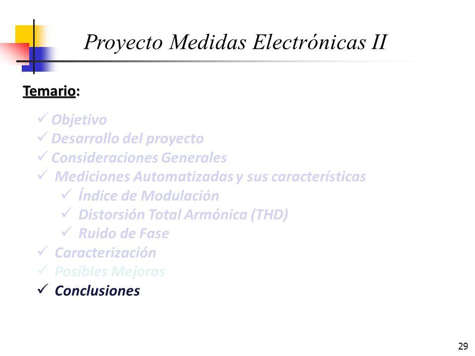 29 Temario: Objetivo Desarrollo del proyecto Consideraciones Generales Mediciones Automatizadas y sus características Índice de Modulación Distorsión