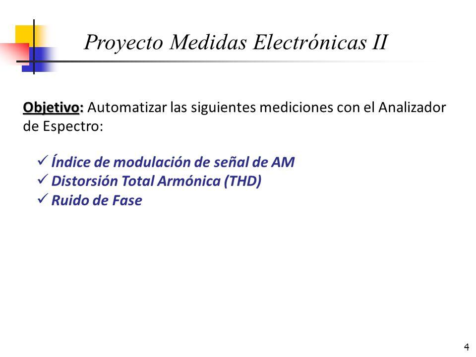 4 Objetivo: Objetivo: Automatizar las siguientes mediciones con el Analizador de Espectro: Índice de modulación de señal de AM Distorsión Total Armóni