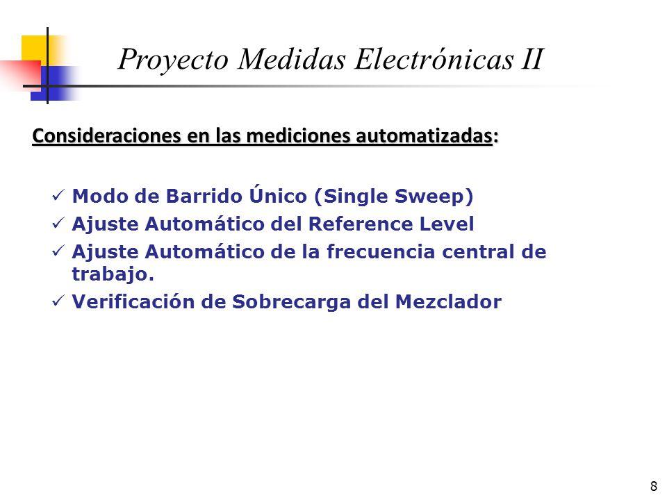 9 Consideraciones en las mediciones automatizadas: Proyecto Medidas Electrónicas II Modo de Barrido Único (Single Sweep) Control por medio de la PC del inicio y fin de refresco de la pantalla del A.E.