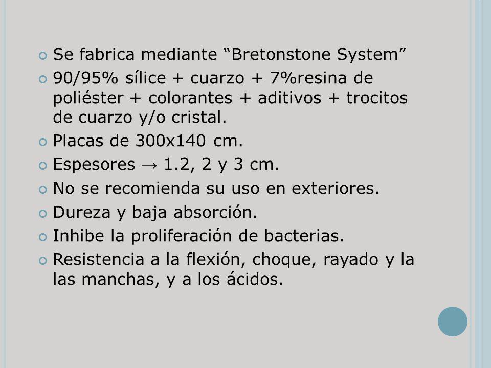 Se fabrica mediante Bretonstone System 90/95% sílice + cuarzo + 7%resina de poliéster + colorantes + aditivos + trocitos de cuarzo y/o cristal. Placas