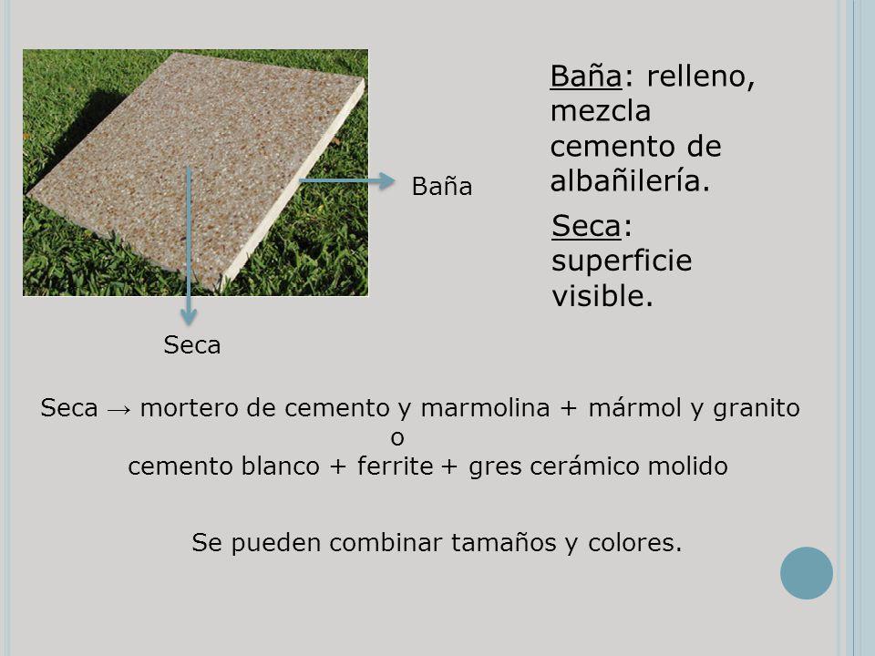 Baña Seca Baña: relleno, mezcla cemento de albañilería. Seca: superficie visible. Seca mortero de cemento y marmolina + mármol y granito o cemento bla
