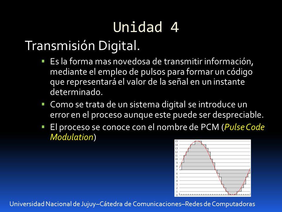 Unidad 4 Universidad Nacional de Jujuy–Cátedra de Comunicaciones–Redes de Computadoras Transmisión Digital. Es la forma mas novedosa de transmitir inf