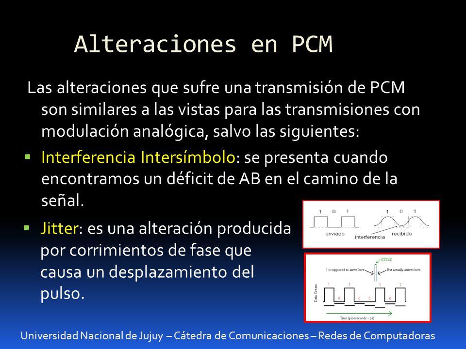 Alteraciones en PCM Universidad Nacional de Jujuy – Cátedra de Comunicaciones – Redes de Computadoras Las alteraciones que sufre una transmisión de PC