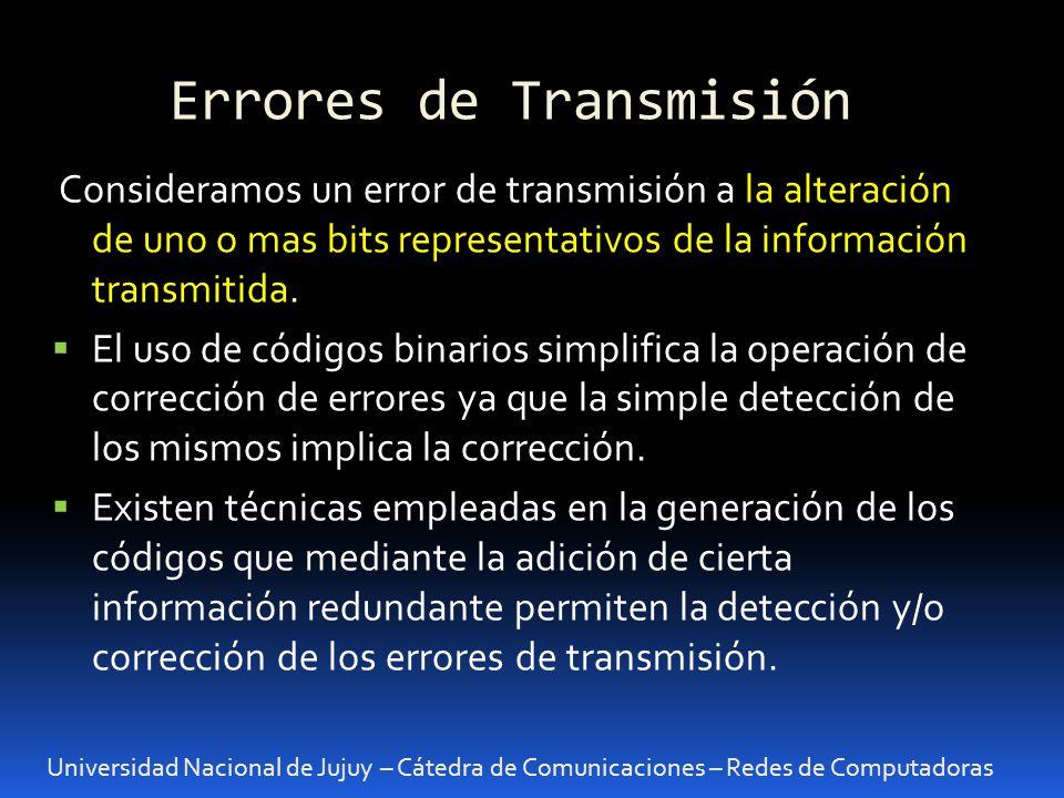 Errores de Transmisión Universidad Nacional de Jujuy – Cátedra de Comunicaciones – Redes de Computadoras Consideramos un error de transmisión a la alt