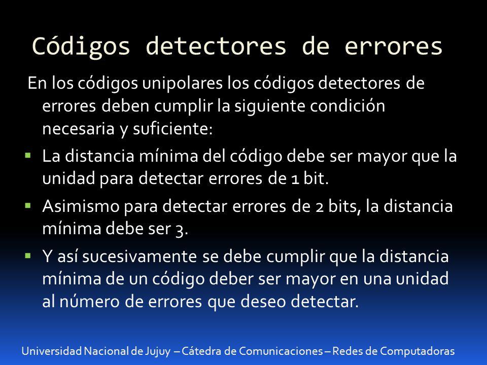 Códigos detectores de errores Universidad Nacional de Jujuy – Cátedra de Comunicaciones – Redes de Computadoras En los códigos unipolares los códigos