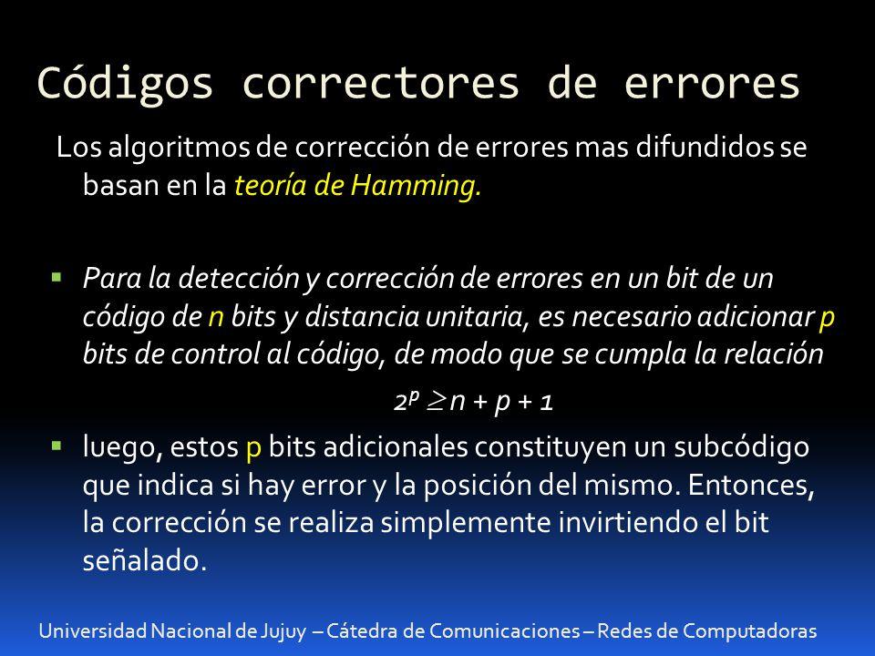 Códigos correctores de errores Universidad Nacional de Jujuy – Cátedra de Comunicaciones – Redes de Computadoras Los algoritmos de corrección de error
