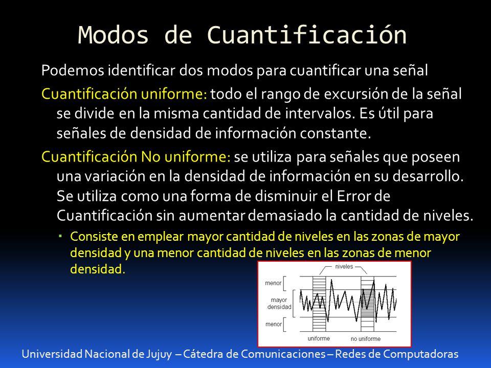Modos de Cuantificación Universidad Nacional de Jujuy – Cátedra de Comunicaciones – Redes de Computadoras Podemos identificar dos modos para cuantific