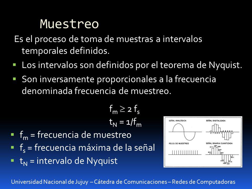 Muestreo Universidad Nacional de Jujuy – Cátedra de Comunicaciones – Redes de Computadoras Es el proceso de toma de muestras a intervalos temporales d