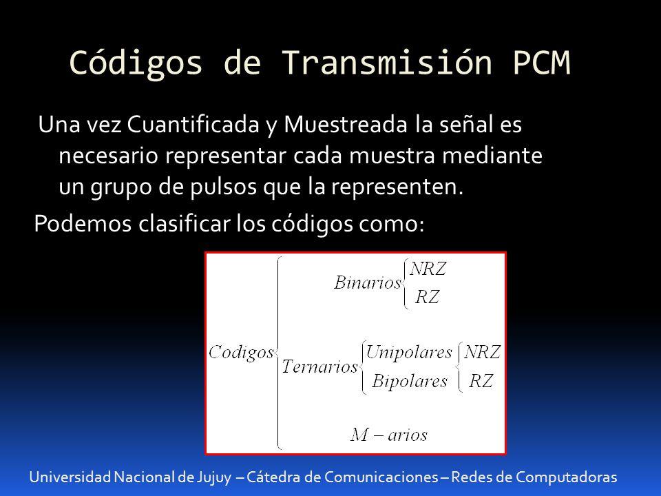 Códigos de Transmisión PCM Universidad Nacional de Jujuy – Cátedra de Comunicaciones – Redes de Computadoras Una vez Cuantificada y Muestreada la seña