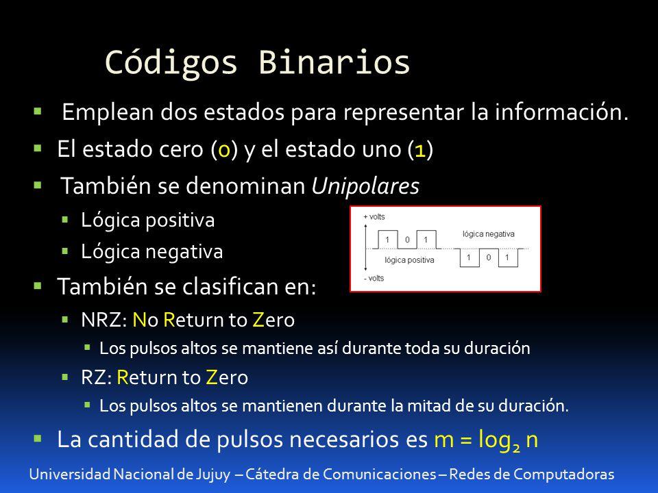 Códigos Binarios Universidad Nacional de Jujuy – Cátedra de Comunicaciones – Redes de Computadoras Emplean dos estados para representar la información