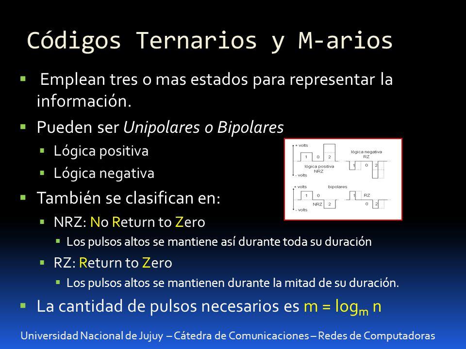 Códigos Ternarios y M-arios Universidad Nacional de Jujuy – Cátedra de Comunicaciones – Redes de Computadoras Emplean tres o mas estados para represen