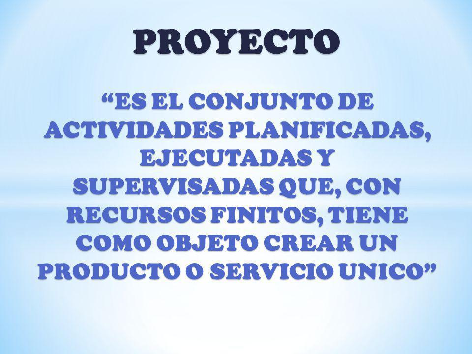 PROYECTO - CARACTERISTICAS PERSECUCIÓN DE OBJETIVOS PERSECUCIÓN DE OBJETIVOS ACTIVIDADES (P-E-S) ACTIVIDADES (P-E-S) RECURSOS LIMITADOS RECURSOS LIMITADOS TIEMPO LIMITADO TIEMPO LIMITADO RESULTADO UNICO RESULTADO UNICO