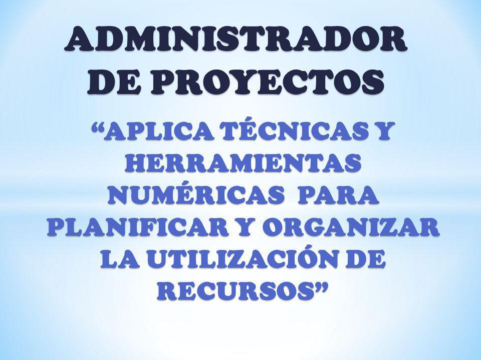 ADMINISTRADOR DE PROYECTOS APLICA TÉCNICAS Y HERRAMIENTAS NUMÉRICAS PARA PLANIFICAR Y ORGANIZAR LA UTILIZACIÓN DE RECURSOS