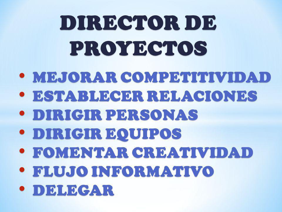 DIRECTOR DE PROYECTOS MEJORAR COMPETITIVIDAD MEJORAR COMPETITIVIDAD ESTABLECER RELACIONES ESTABLECER RELACIONES DIRIGIR PERSONAS DIRIGIR PERSONAS DIRI