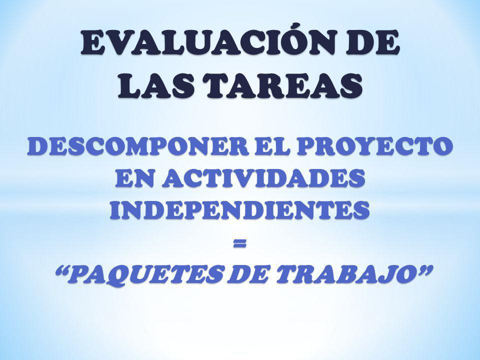 EVALUACIÓN DE LAS TAREAS DESCOMPONER EL PROYECTO EN ACTIVIDADES INDEPENDIENTES = PAQUETES DE TRABAJO